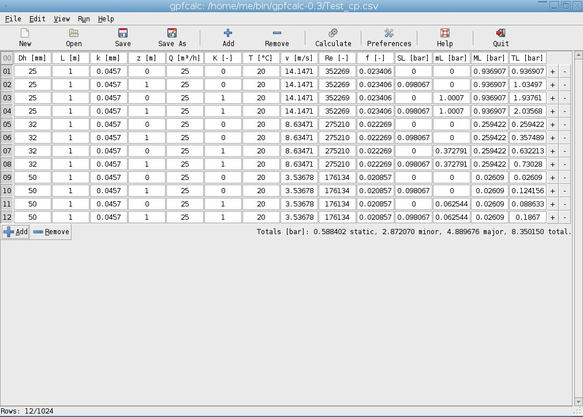 screenshot of gpfcalc main window