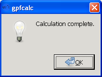 gpfcalc calculation complete