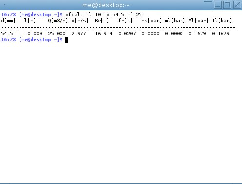 screenshot of pfcalc running with command line arguments