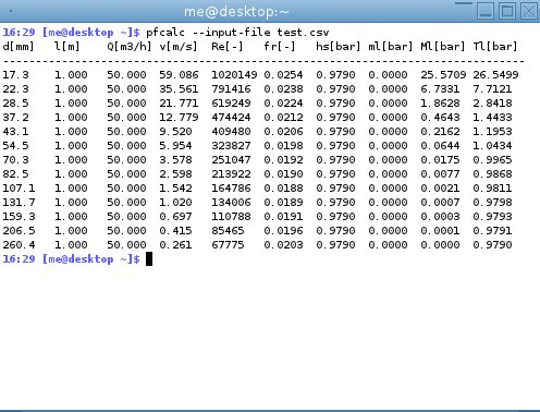 screenshot of pfcalc running with data from a csv file
