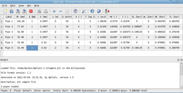 screenshot of qpfcalc main window